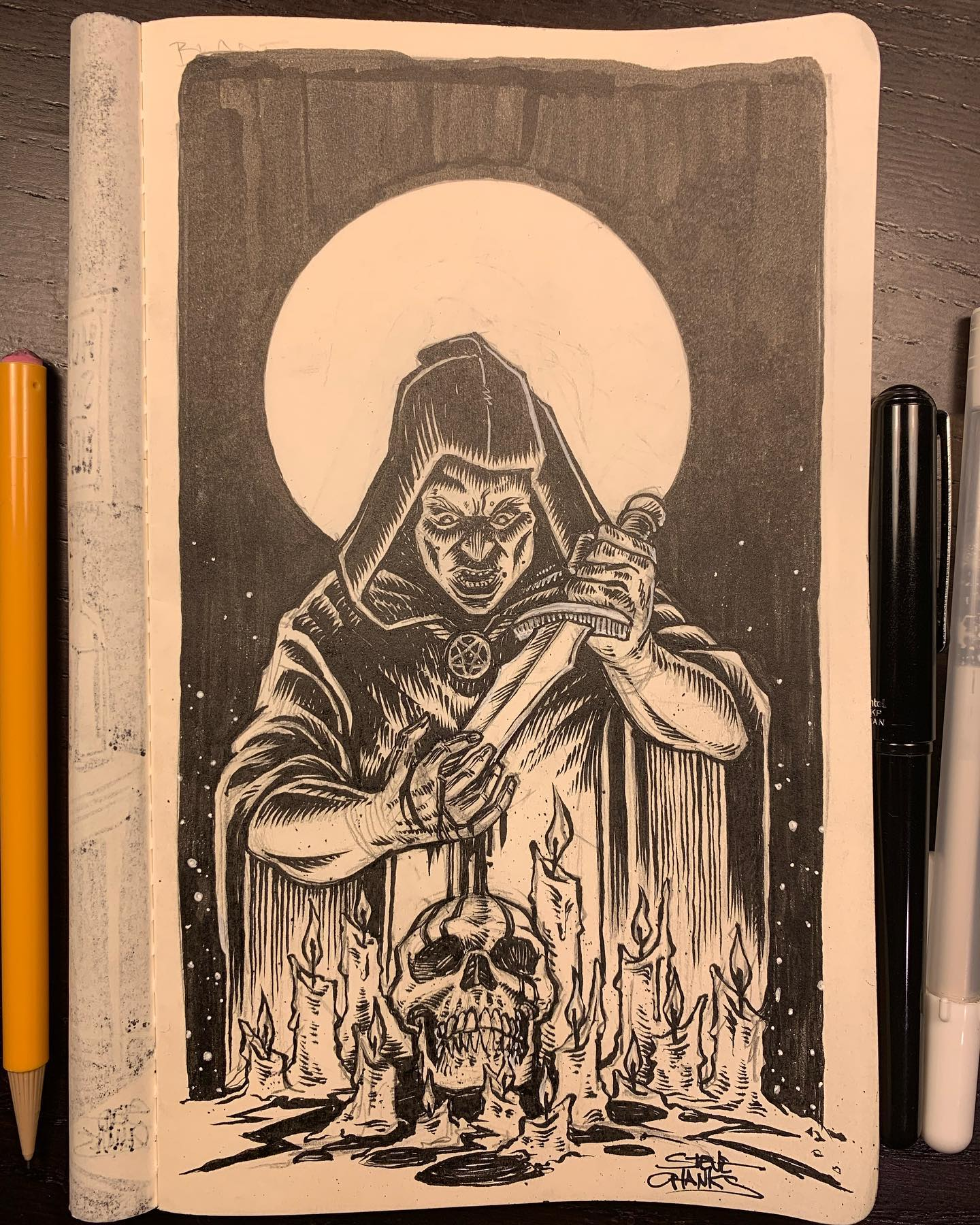 I'll get through #drawlloween2020 and #inktober2020, I promise!!! This is day five, Blade and I got all ritualistic and occulty with it. What's your favorite blood sacrifice? Tee hee (nervous laughter...)...#Drawlloween #inktober #drawing #illustration #blackandwhitedrawing #blackandwhiteillustration #inkdrawing #pentelbrushpen #sketchbook #penandinkdrawing #sketch #dailydrawing #instaart #artistsoninstagram #moleskine #horror #horrorart #scary #spookyart @moleskine @pentelusa
