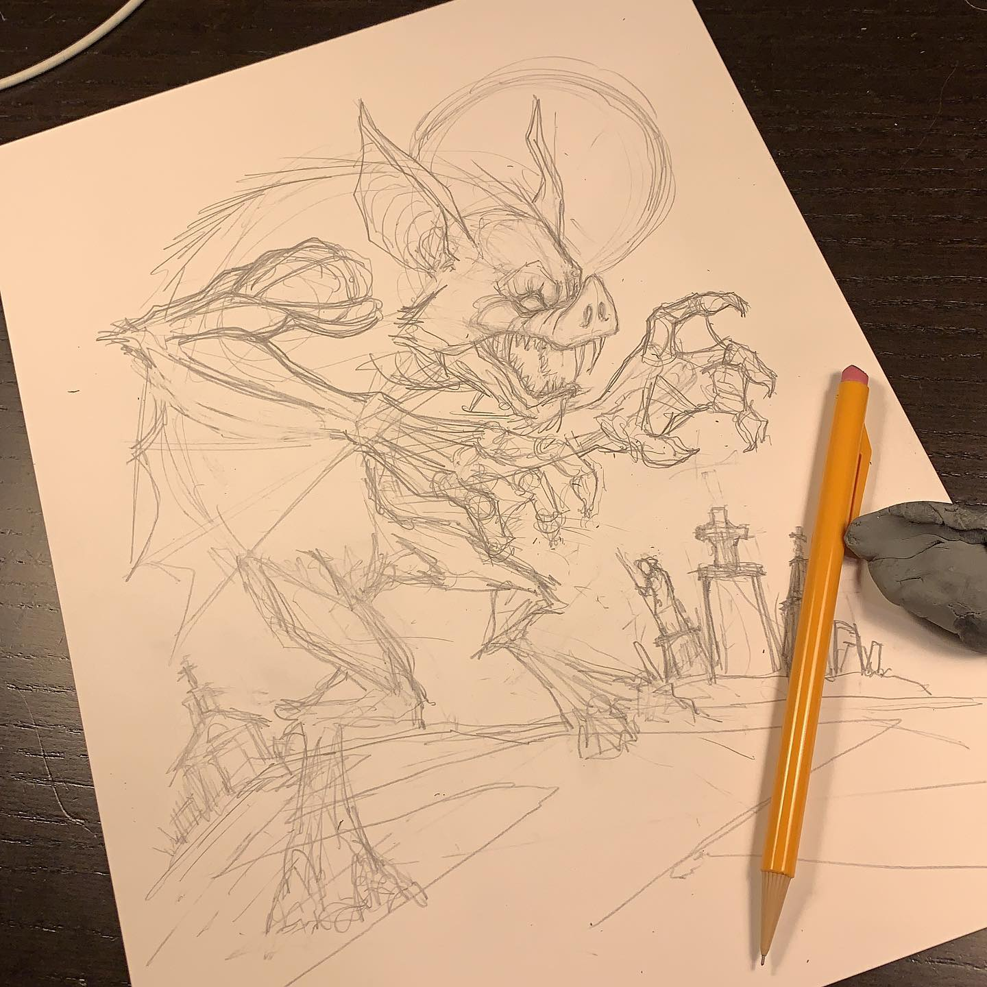 Working on a piece for an old art buddy. Late but not forgotten. @jefflachance finally chipping away at your vampire man-bat.