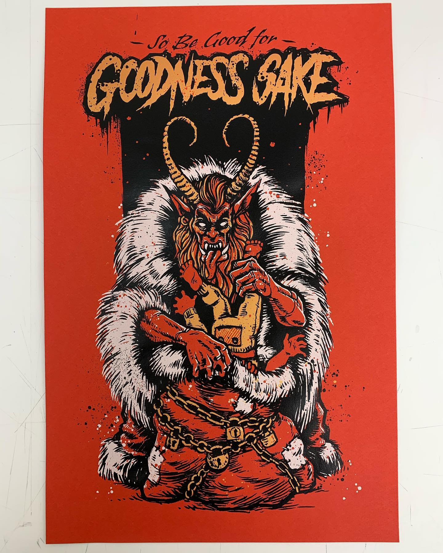 It's that time of year again. Bad kids get beaten with reeds and eaten in caves. There are still some #Krampus posters available in my shop. #screenprint #artprint #happyholidays